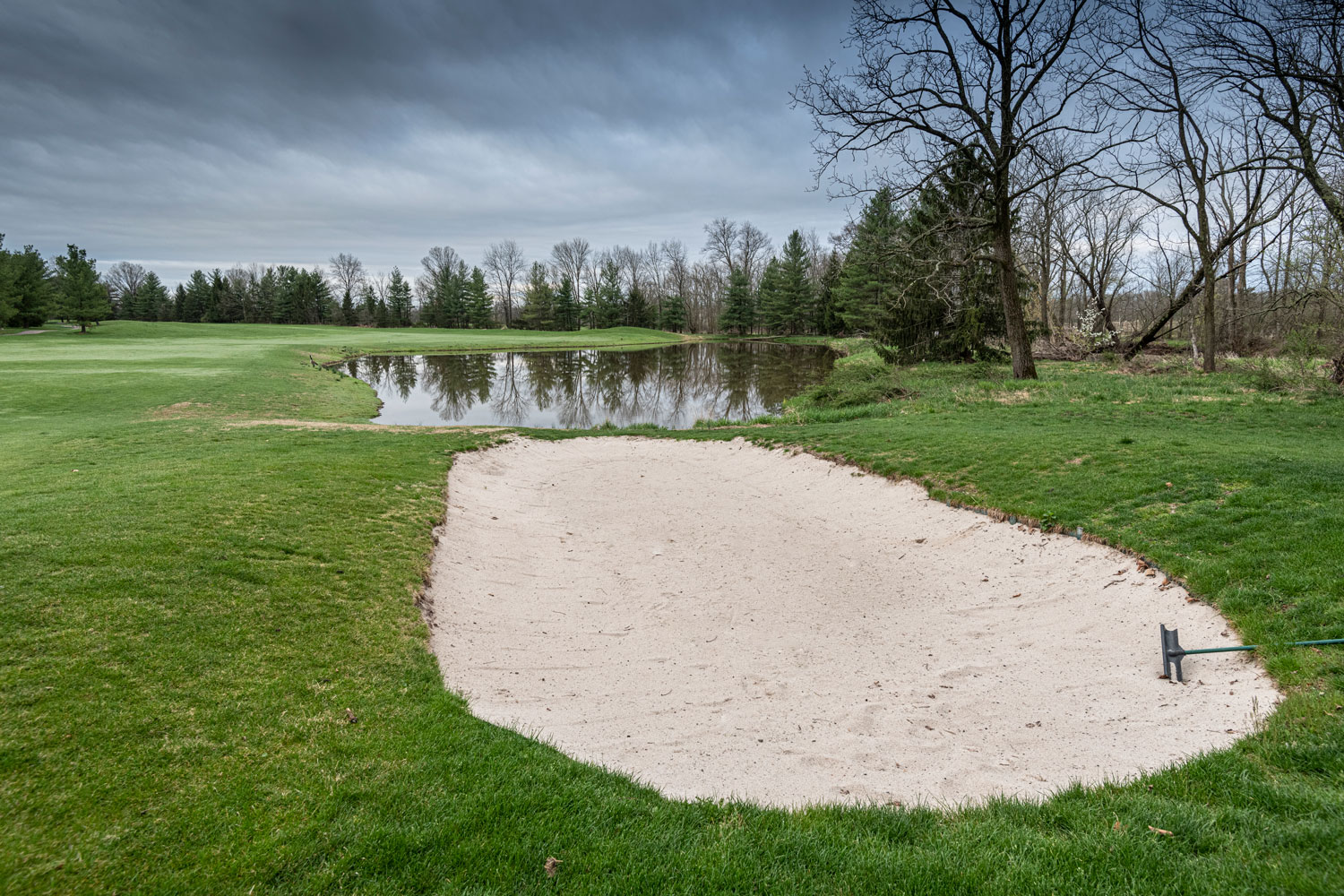The sand trap on the course